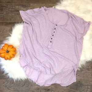 Free People Lilac Button Up Crewneck Tee